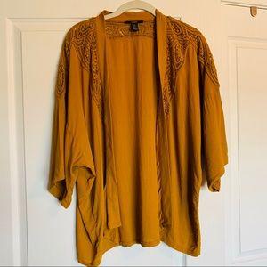 Forever 21 Mustard Lace Kimono